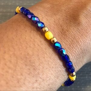 Jewelry - Blue & Yellow Beaded Handmade Bracelet